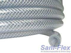 PVC Gewebeschlauch 50x5mm auf 25m-Rolle Kreuzgewebe transparent für Lebensmittel, Druckluft, Wasser