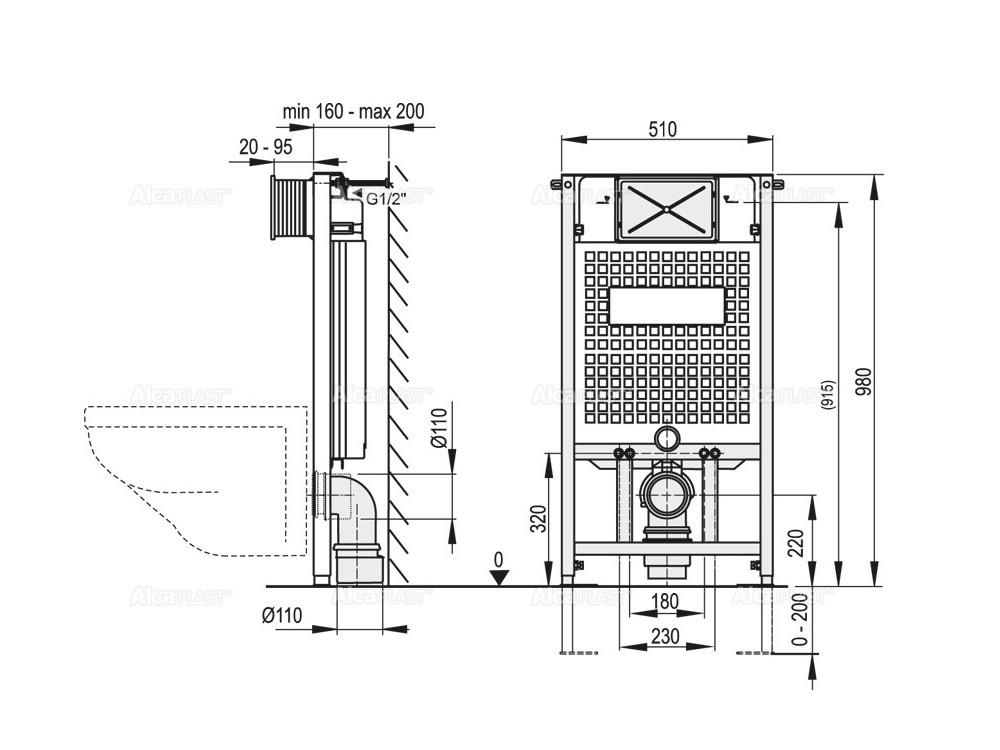 Turbo WC Vorwandelement mit Drückerplatte, WANDMONTAGE Spülkasten, Höhe WP52