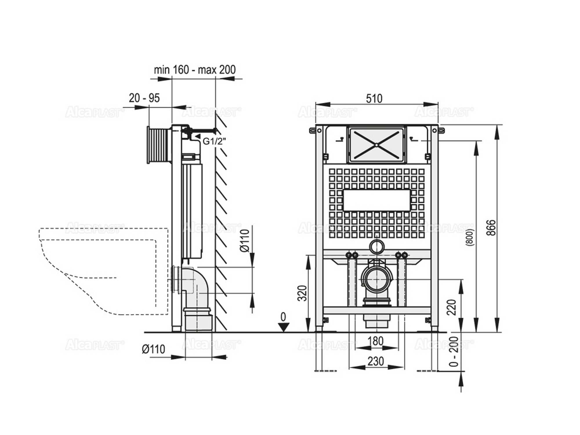 Sehr WC Vorwandelement inkl. Premium-Drückerplatte zur Wandmontage NZ48