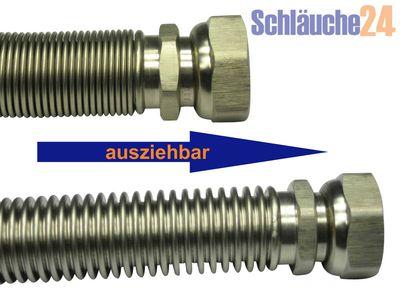 """Edelstahlwellrohr ausziehbar, DN20, beidseitig 3/4"""" ÜM, Highflex Edelstahlschlauch 1.4404, formstabil, variable Längen von 75-130mm bis 500-1.000mm"""