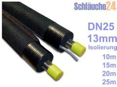 """DN25 Solarrohr, Solarleitung, Edelstahlwellrohr mit 13mm Dämmung und Gewebemantel, in den Längen 10m, 15m, 20m, 25m, Verschraubungen 1 1/4"""" inkl. 001"""