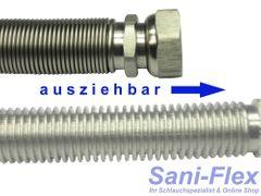 """Edelstahlwellrohr ausziehbar, DN25 Highflex Edelstahlschlauch 1.4404, formstabil, variable Längen von 75-130mm bis 1.000-2.000mm, 1"""" ÜM x 1"""" AG"""
