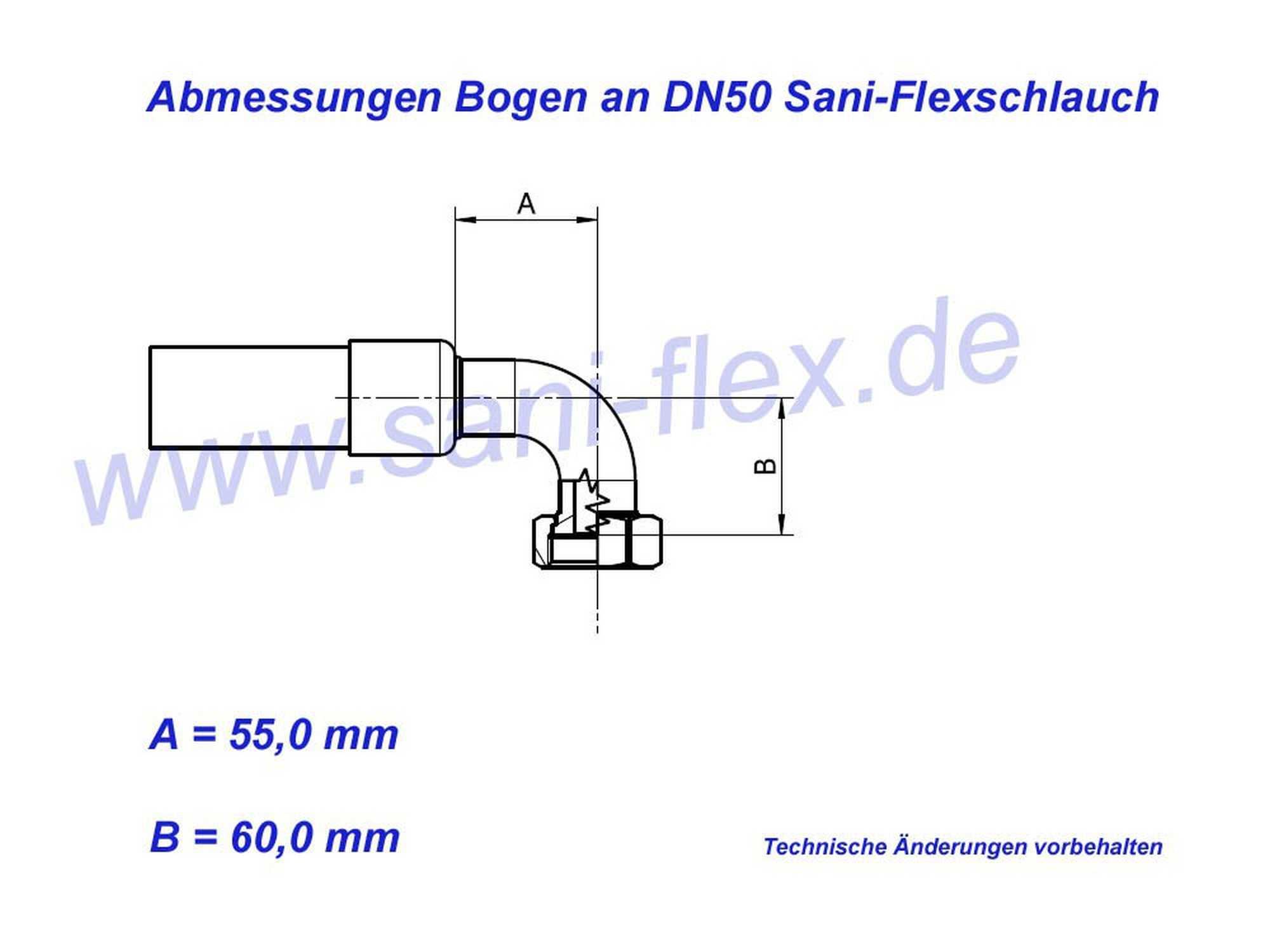 Abmessungen Bogen DN50 Panzerschlauch