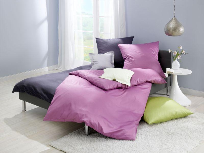 Satin-Bettwäsche einfarbig, Farbgruppe grau – Bild 1