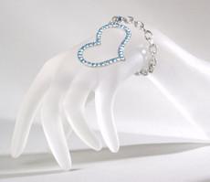 Bettelarmband Armband mit Strass-Herz Capri Blau 001