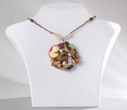 Halskette mit großem bunten Anhänger   Damen Collier im Antik-Look