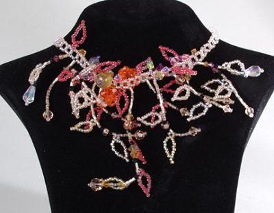 Damen Perlen Collier Bettelkette Hals-Kette Perlen-Kette Rosa
