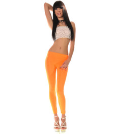 Neon Sport Workout Stretch Leggings glänzend Orange 001