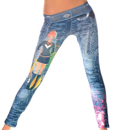 Jeans Damen Leggings Blau Bunt