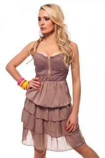 Bandeau Damen Mini Kleid Sommerkleid mit Minirock Baumwolle Strandkleid Beige