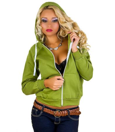 Damen Sweatjacke mit Kapuze in Grün
