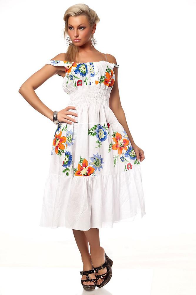 langes Damen Carmen Sommerkleid mit Blumenmuster | Mode ...