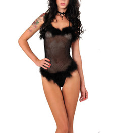 Bodystocking Damen String Body transparent Schwarz mit Web-Pelz 001