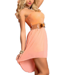 schulterfreies Bandeau Chiffon High Low Kleid kurz in Orange 001