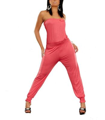 Schulterfreier Bandeau Overall Jumpsuit schulterfrei mit Pumphose in Rosa