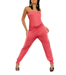 Schulterfreier Bandeau Overall Jumpsuit schulterfrei mit Pumphose in Rosa 001