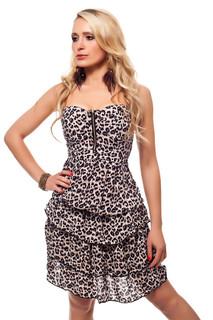 Bandeau Kleid mit Gepard-Muster Braun/Beige 001