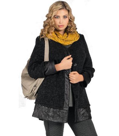 Chalou Damenjacke Jacke mit Wolle und Kunstleder, Grau