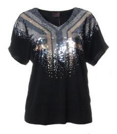 Sempre Piu festliches XXL Damen T-Shirt mit Pailletten Schwarz 001