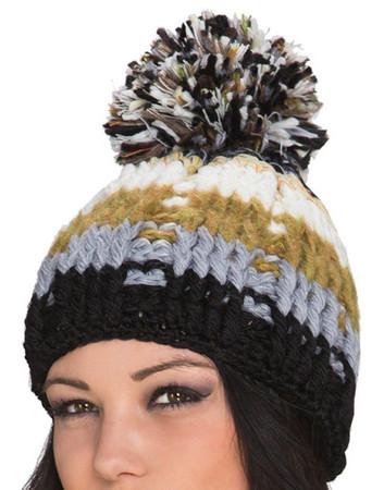 Damen Wintermütze mit Bommel, Braun Beige