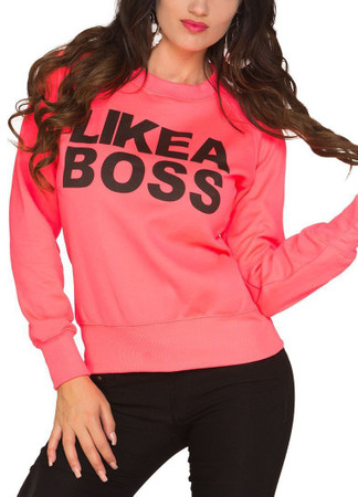 "Damen Sweater ""LIKE A BOSS"" Sweatshirt, Neonrosa"