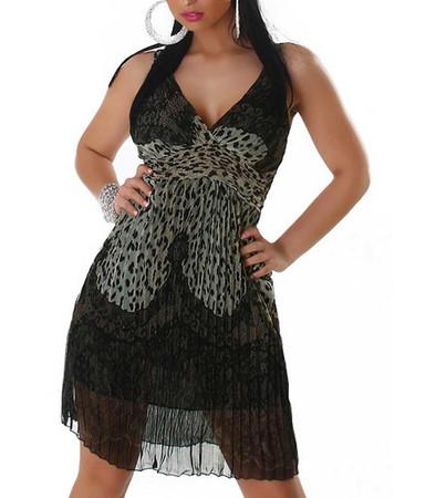 Chiffon Damen Kleid Sommerkleid knielang mit Leopardenmuster, Khaki