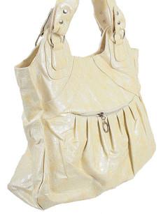 Shopper Tasche Damen aus Leder Imitat, Creme 001
