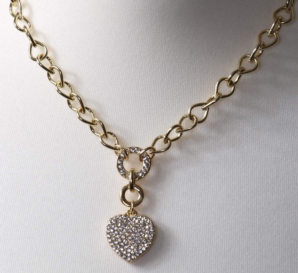 Modeschmuck kette gold  Damen Modeschmuck Halskette Strass Herz Gold
