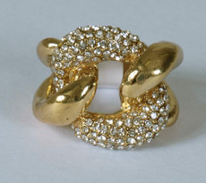 Damenring Gold Fingerring Strass Modeschmuck Ring Damen 001