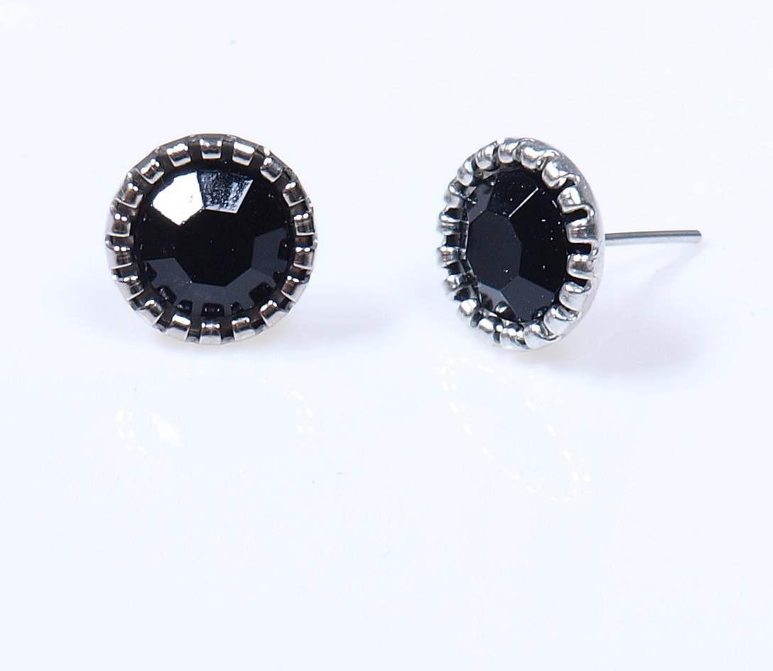 Modeschmuck silber ohrringe  Modeschmuck Stecker schwarz 10 mm für Damen