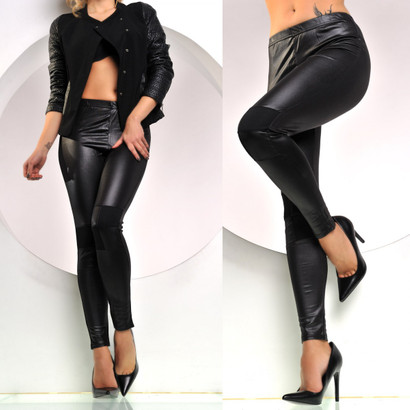 Hot Leggings mit sexy Wetlook in schwarz seidig glänzend
