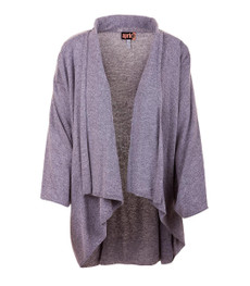 Aprico Damen Fledermaus Strickjacke Shirtjacke Grau