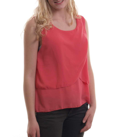 Madonna Mode Chiffon Tops - Damen Top Emma in Koralle