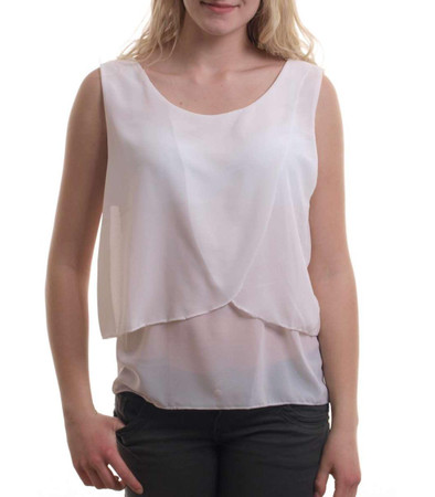 Madonna Mode Chiffon Tops - Damen Top Emma in weiß