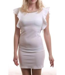 Madonna Minikleid Kamella mit Kette und Volant Ärmel in Weiß 001