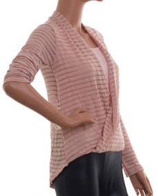 Madonna Longsleeve Shirt im Wickel-Look und Doppel-Look in Rosa