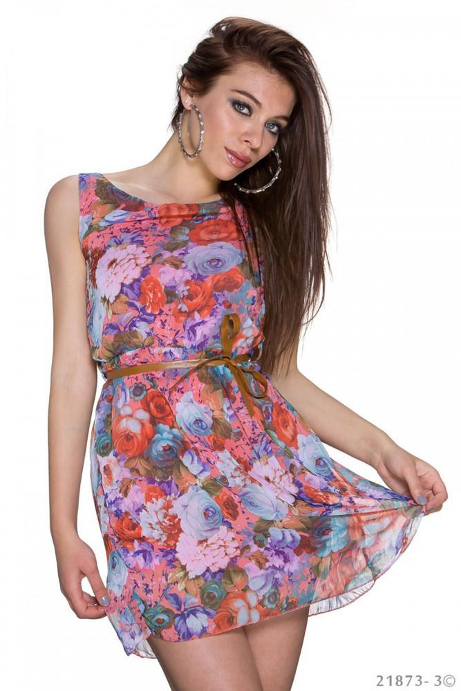 Chiffon Kleid, Minikleid Sommerkleid mit Blumen in Gr 10 10, Koralle