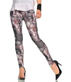 Hot Leggings für Damen mit Ornament Muster in Grau 001