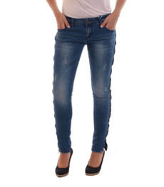 Hailys Used Look Damen Stretch Skinny Jeans in Blau