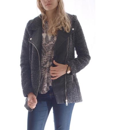 Hailys Damen Teddy Übergangsjacke mit Kunstleder in Grau