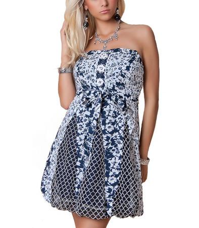 Bandeau Kleid Minikleid Weiß Blau aus Baumwolle günstig