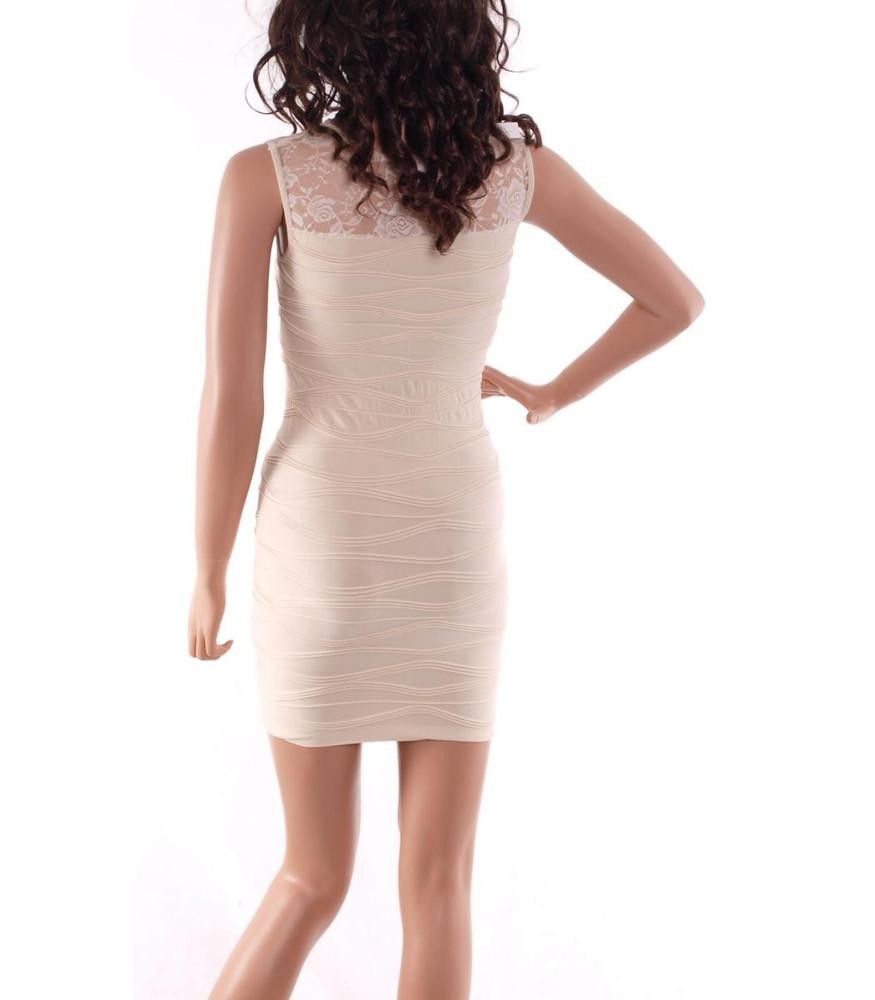 Sexy Partykleid in Beige mit Spitze Etuikleid kurz