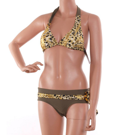 Triangel Push Up Bikini Set mit Leopardenmuster in Braun Gold