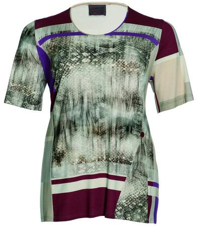 Sempre Piu by Chalou Damen Shirt Viskose Beige Bordeaux
