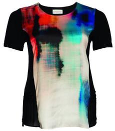 Chalou Marken-T-Shirt für Damen mit Batik Bunt Schwarz 001