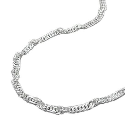 Damen Fußkette Fußkettchen Singapur, Silber 925, 25 cm