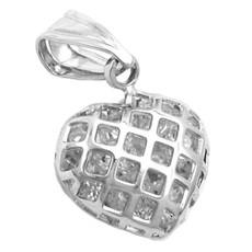 Anhänger Herz mit Zirkonia Herzanhänger, Kettenanhänger, 925 Silber 001