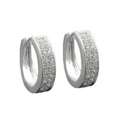 Creole 14 mm 925er Silber glänzend mit Zirkonia 001