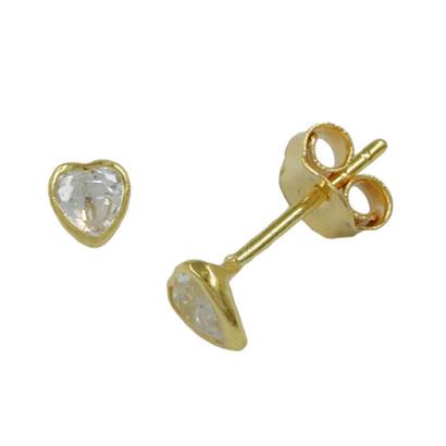 Stecker  Gold 375 Herz mit Zirkonia