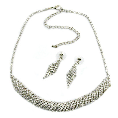 Damen Set Strass-Ohrringe Collier Strass-Kette Modeschmuck